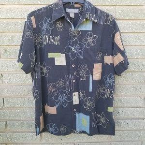 🌻 Tori Richard's 100% silk mens M floral Hawaiian